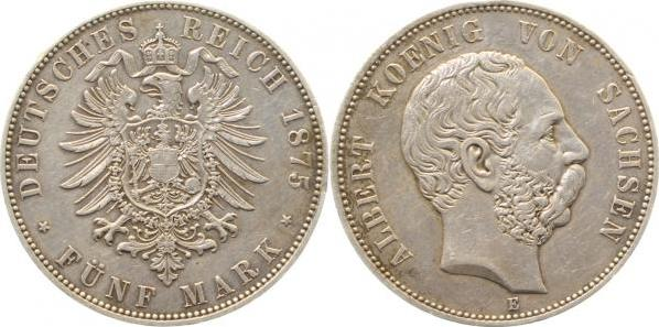 12275E~2.5-IN 5 Mark  Sachsen Albert 1875E ss/vz J 122